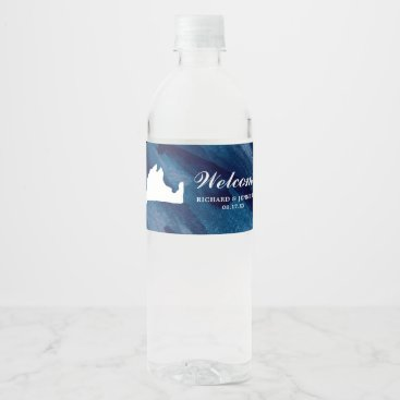 Beach Themed Navy Watercolor Blue Marthas Vineyard Map Wedding Water Bottle Label