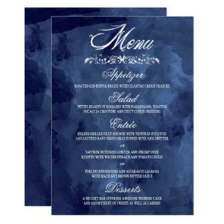 Navy Watercolor Bohemian Wedding Menus Card
