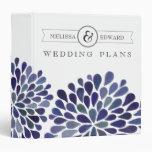 Navy Watercolor Dahlias Wedding Planner Binder
