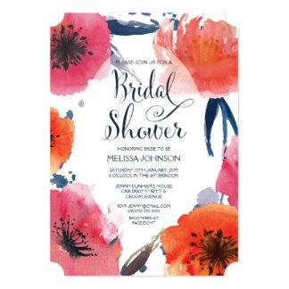 "Navy Watercolor Floral Bridal Shower Invite 5"" X 7"" Invitation Card"