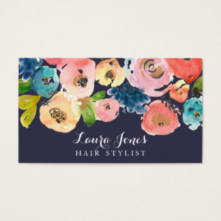 Navy Watercolor Floral Hair Stylist Cards