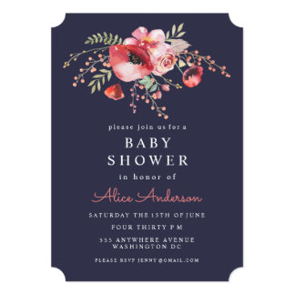 Navy Watercolor Floral Poppies Baby Shower Invite