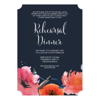 "Navy Watercolor Floral Rehearsal Dinner Invite 5"" X 7"" Invitation Card"