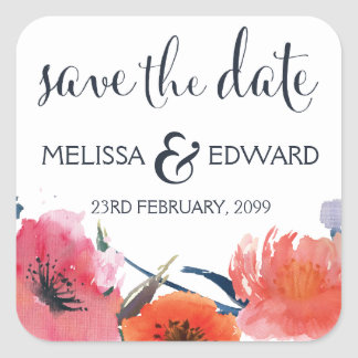 Navy Watercolor Floral Save the Date Announcement Square Sticker