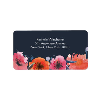 Navy Watercolor Floral Wedding Address Labels