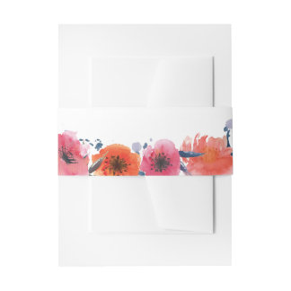 Navy Watercolor Floral Wedding Belly Bands Invitation Belly Band