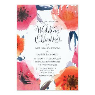 "Navy Watercolor Floral Wedding Invite 5"" X 7"" Invitation Card"