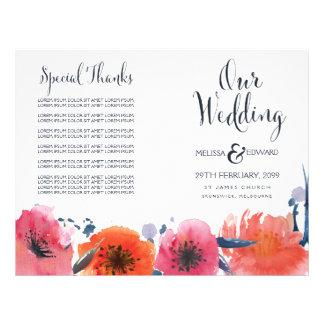 Navy Watercolor Floral Wedding Program Booklet