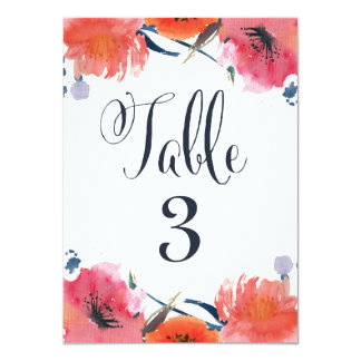 Navy Watercolor Floral Wedding Table Number Cards