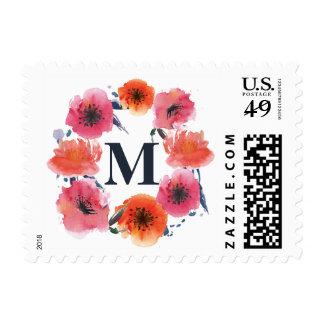 Navy Watercolor Floral Wreath Monogram Stamp