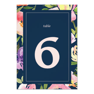 NAVY WATERCOLOR FLOWER wedding table number Card