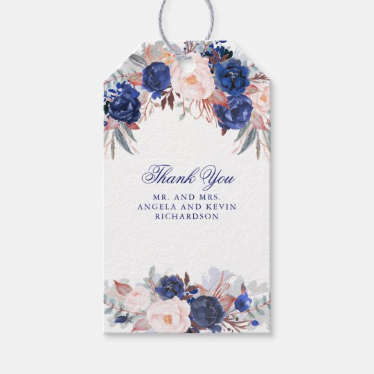 navy watercolor flowers gift tags