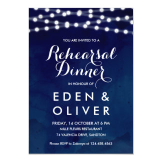 Navy Watercolor String Lights Rehearsal Dinner Card