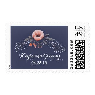 Navy Wedding Floral Baby's Breath Postage Stamp