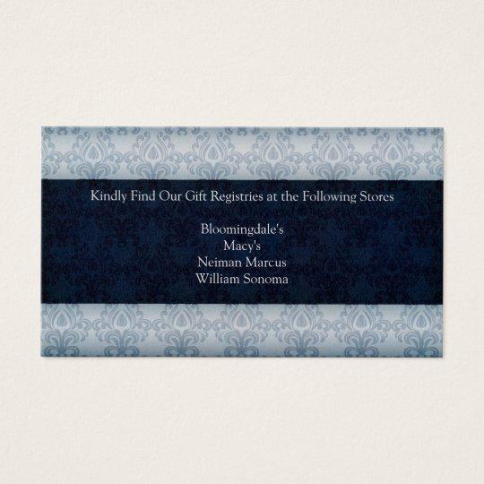 Navy Wedding Gift Registry Card