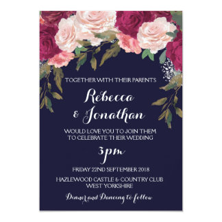 navy wedding invitation burgundy pink floral - Navy And Blush Wedding Invitations