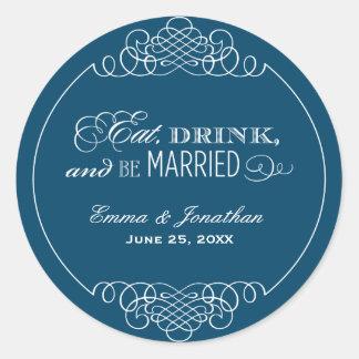 Navy Wedding Monogram | Eat Drink & Be Married Classic Round Sticker