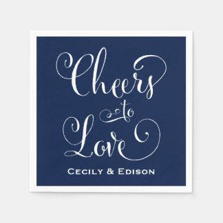 Navy Wedding Napkins   Cheers to Love