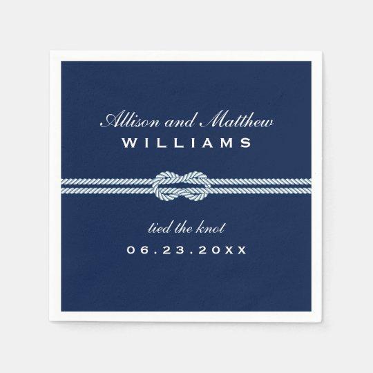 Navy Wedding Napkins | Tied the Knot Monogram | Zazzle.com