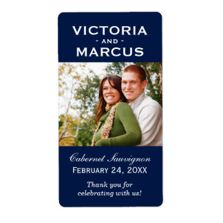 Navy Wedding Photo Wine Bottle Favor Labels