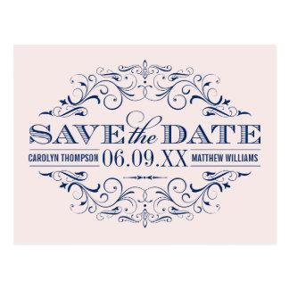 Navy Wedding Save the Date | Swirl and Flourish Postcard