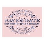 Navy Wedding Save the Date   Swirl and Flourish Postcard