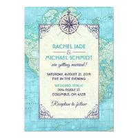 Navy Wedding Travel Invitation