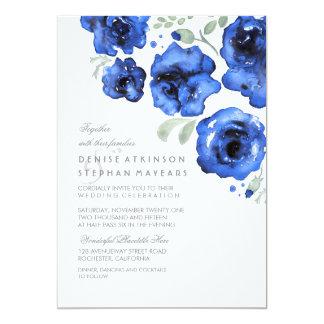 Navy Wedding - Watercolor Roses Card
