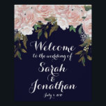 "Navy wedding welcome sign pink flowers<br><div class=""desc"">A beautiful way to welcome the guests at your wedding or bridal shower. With a navy background and featuring pale pink watercolour flowers.  Customise your names and wording to suit you! Lots of matching items in this collection. Some graphics used from TwigsAndTwineArt.com</div>"