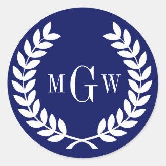 Navy Wheat Laurel Wreath Monogram Env Seals Sticker