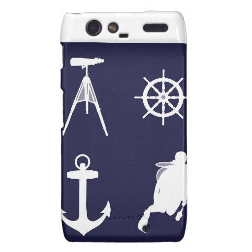 Navy, Wheel, Helm, Anchor on Navy Blue Motorola Droid RAZR Cover