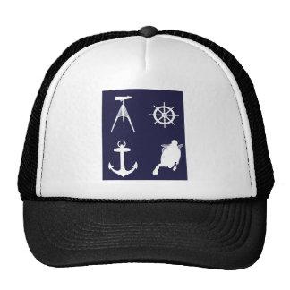 Navy, Wheel, Helm, Anchor on Navy Blue Trucker Hat