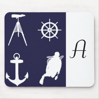 Navy, Wheel, Helm, Anchor on Navy Blue Mouse Pad