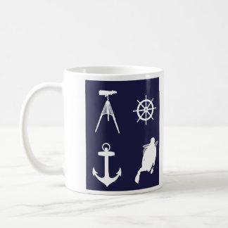 Navy, Wheel, Helm, Anchor on Navy Blue Coffee Mugs