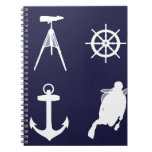 Navy, Wheel, Helm, Anchor on Navy Blue Note Books