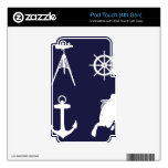 Navy, Wheel, Helm, Anchor on Navy Blue iPod Touch 4G Skin