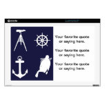 "Navy, Wheel, Helm, Anchor on Navy Blue 17"" Laptop Skins"