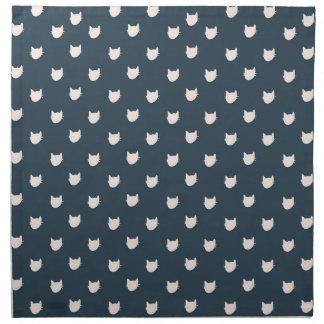 Navy Whimsical Cats cloth napkins