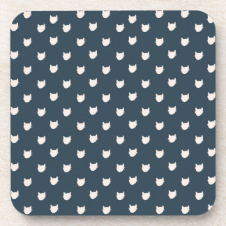 Navy Whimsical Cats Coasters