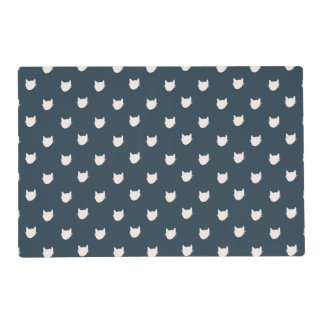 Navy Whimsical Cats Placemat 12x18