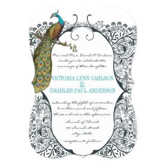 Navy Whimsical  Peacock Love Bird Pattern Wedding 5x7 Paper Invitation Card