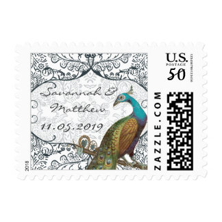 Navy Whimsical Peacock Love Bird Postage Stamp