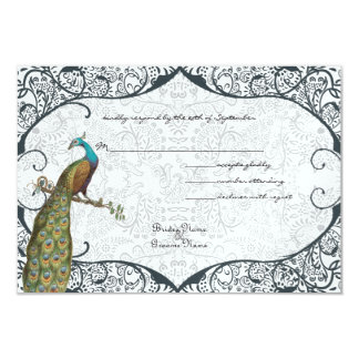 Navy Whimsical Peacock Love Bird RSVP 3.5x5 Paper Invitation Card