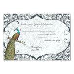 Navy Whimsical Peacock Love Bird RSVP Invite