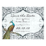 Navy Whimsical Peacock Love Bird Save the Date Invitations