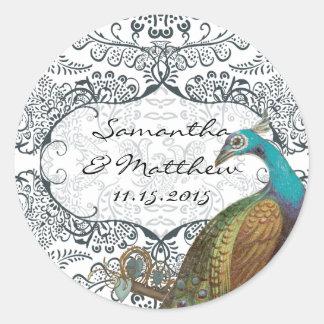 Navy Whimsical Peacock Love Bird Wedding Seal Classic Round Sticker