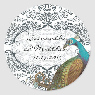 Navy Whimsical Peacock Love Bird Wedding Seal Stickers