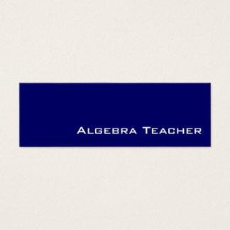 Navy white Algebra Teacher business cards