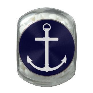 Navy/White Anchor Glass Jar