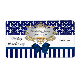 Navy White Anchor Stripe Navy Bow Party Wine Label Shipping Label